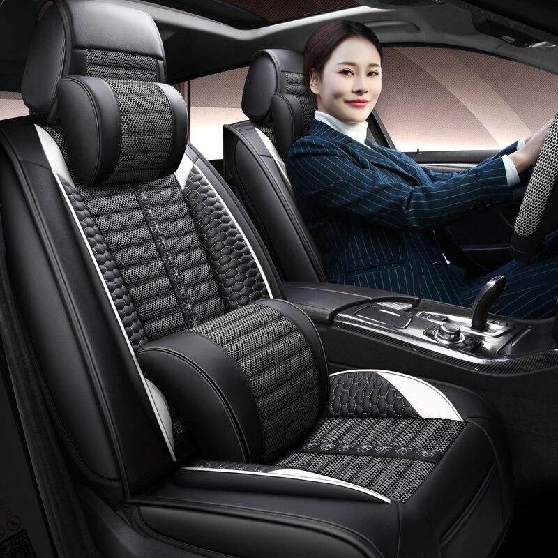 Funda de asiento de cuero PU de cobertura completa, fundas de asientos de coche de fibra de lino para honda accord 7 8 9 city civic 4d CR-V crv fit freed