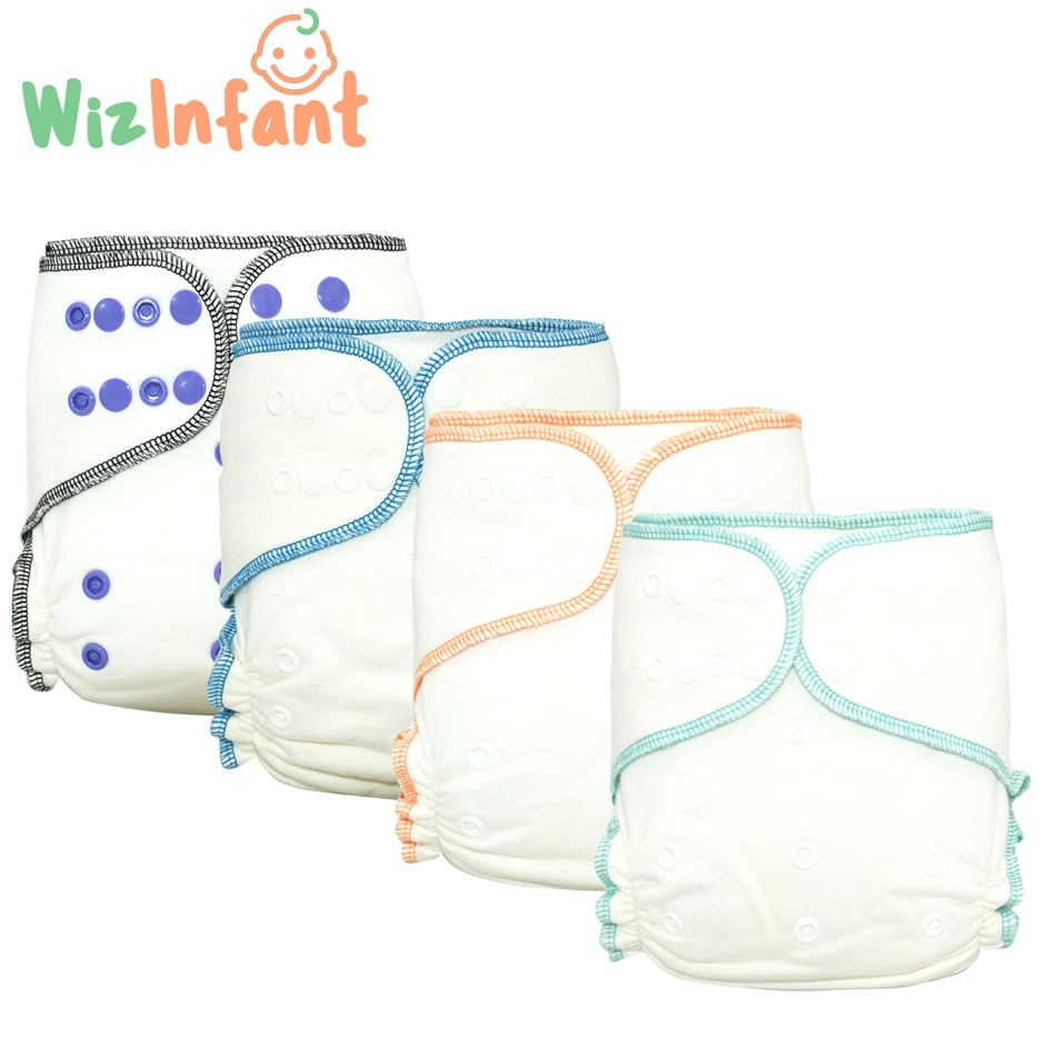 Wizinfant OneSize Bamboo Cotton Fitted Cloth Diaper Heavy Wetter Baby Nappy Eco-friendly diapers fit 3-15kg baby Washable