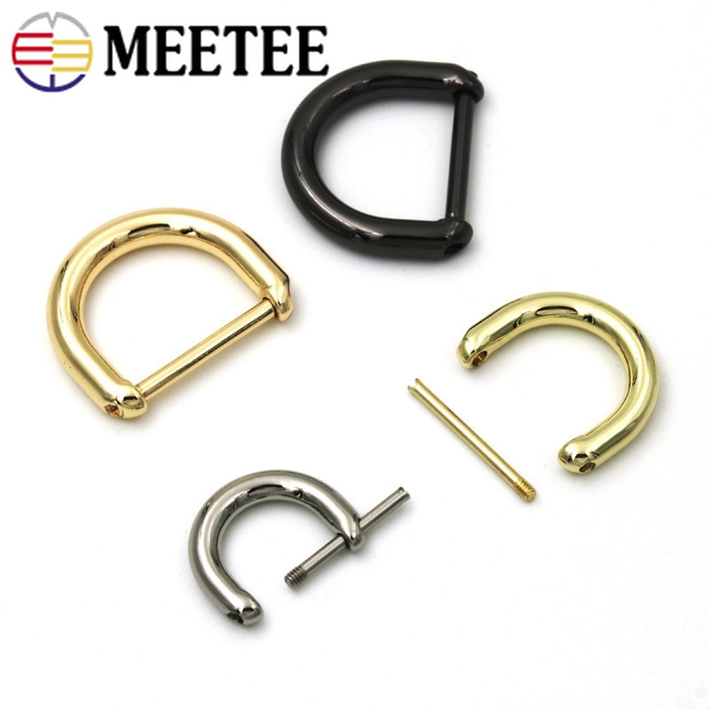 AliExpress - Meetee 5/10pcs ID13/16/20/25mm Metal D Ring Buckle Bags Ring Screw Replace Hanging Hook DIY Luggage Decor Buckles Hardware Parts
