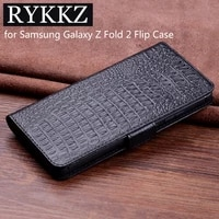 luxury genuine flip leather case for samsung galaxy z fold 2 flip cover handmake leather cases for galaxy z flip case