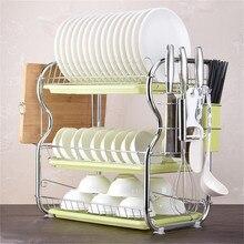 Kitchen Cutlery Drain Rack 3 Layer Dish Drainer Iron Storage Organizer Rustproof Dishes Plates Organization Shelf Kitchen Rack