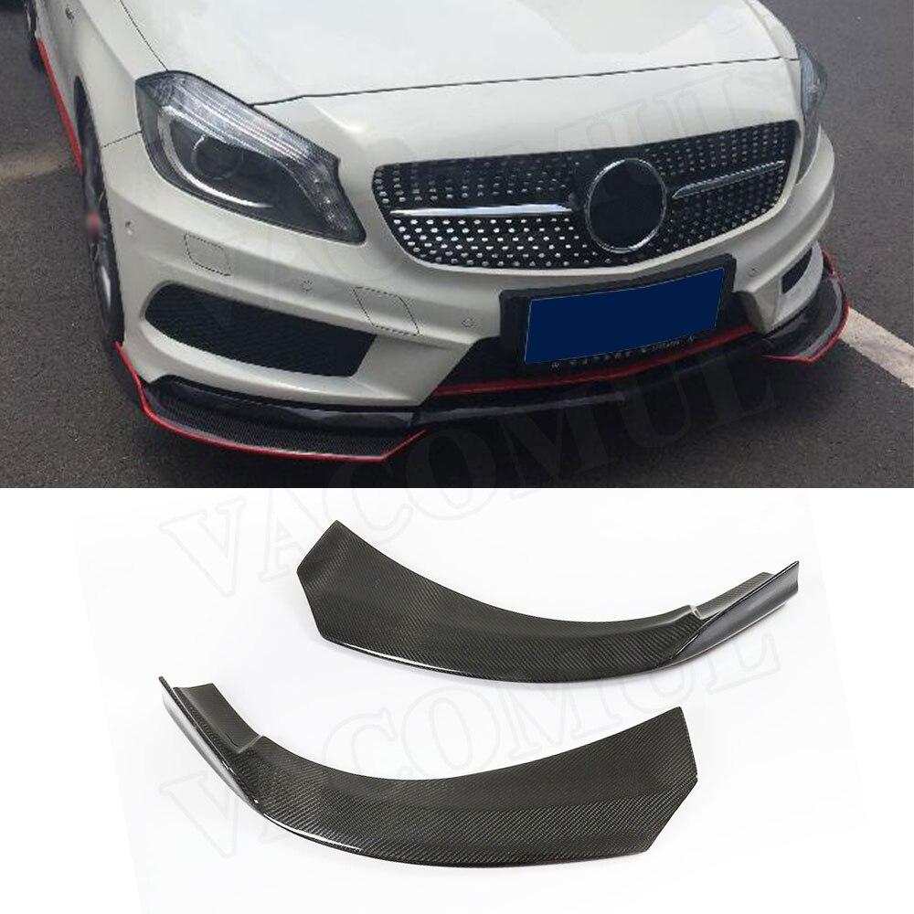 Carbon Fiber Front lip Splitters Flaps Spoiler Canards For Benz A Class W176 A180 A200 2013-19 Bumper aprons Decoration