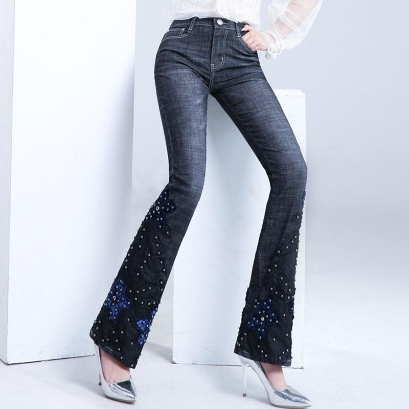 FERZIGE-بنطلون جينز نسائي ، بنطلون واسع ، جينز مطرز يدويًا ، خصر مرتفع ، نحيف ، أسود ، مقاس كبير 36