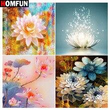 """HOMFUN strass peinture cristal décor bricolage diamant peinture """"fleur lotus"""" 3D point de croix motif diamant broderie"""