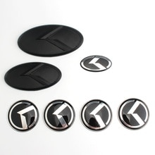 K logotipo emblema 3d adesivo carro dianteiro traseiro volante crachá centro hub tampa capa emblema para kia optima k2/k3/k4/k5 prata preto