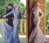 2019 muslim lace mermaid arabic mother of the bride dresses high collar long sleeves floor length mother of the bride dresses