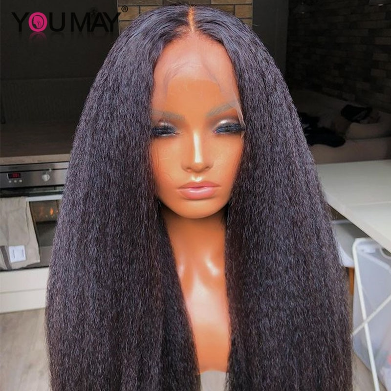 Kinky Straight Glueless Lace Front Human Hair Wigs Italian Yaki Human Hair Transparent Lace Wigs For Black Women You May