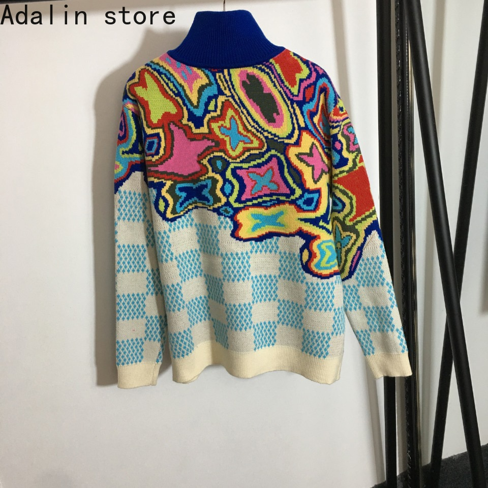 2021 high quality autumn new fashion women's letter printed high neck zipper Pullover temperament long sleeve knitted sweater enlarge
