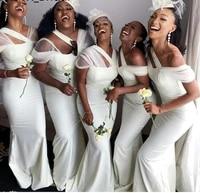 african black girls bridesmaid dresses 2020 new sexy mermaid white satin long wedding party dress women formal gowns custom