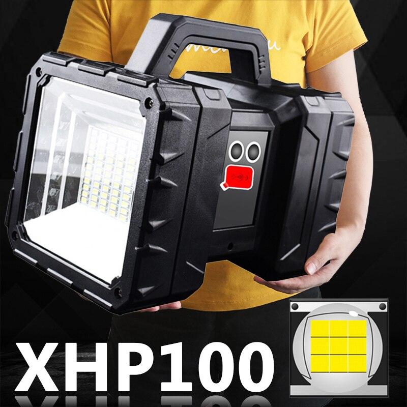XHP100 مصباح LED فائق السطوع Usb قابلة للشحن مزدوجة رئيس الكشاف يده مصباح يدوي العمل الأضواء ضوء الفيضانات XHP70 الشعلة
