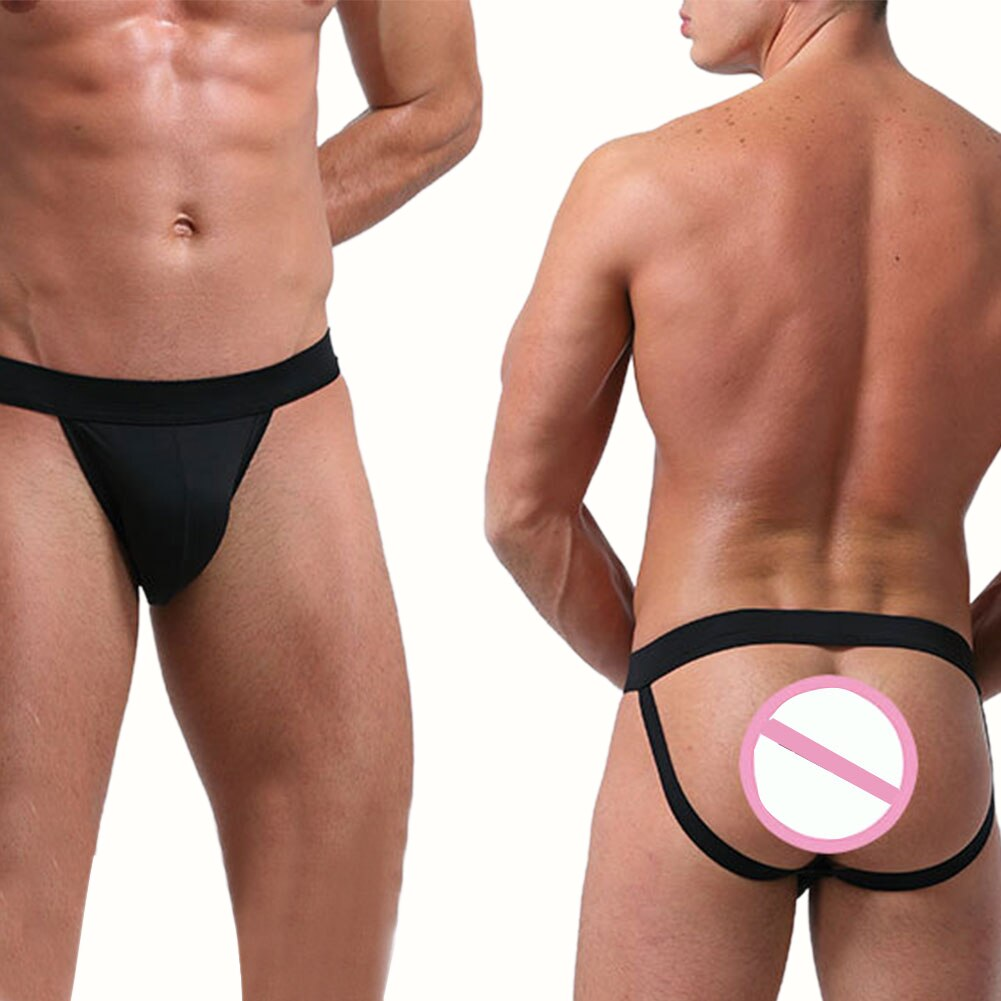 Men's Double Straps Underwear Sexy Low-waist Buttocks Solid Color Ice Silk Sexy Male Thong Men's Panties Exotic Apparel Porno