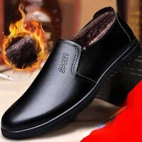 mens autumn and winter plus cotton casual leather shoes wear resistant soft leather non slip warm shoes without straps