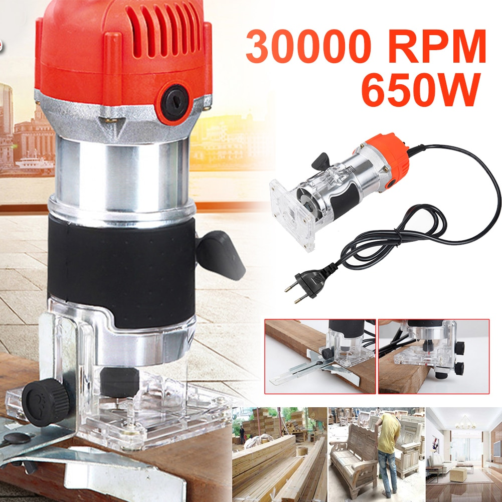 Home Wood Hand Router Electric Woodworking Trimmer Carpentry Engraving Machine 30000RPM Slotting Trimming Wood Router Bit Set