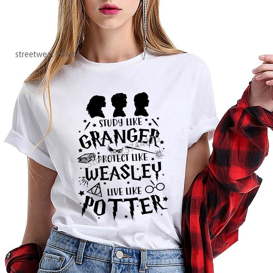 Hogwarts Comics diseño relámpago gafas camiseta chicas Streetwear Harry Flash gafas gráfico camiseta femenina Harajuku camiseta
