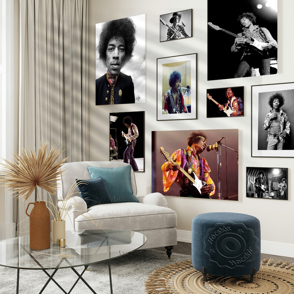 Jimi Hendrix постер певица печать рок музыка легенды настенное Искусство Декор ВИНТАЖНАЯ фотография Черно-белые постеры настенные наклейки