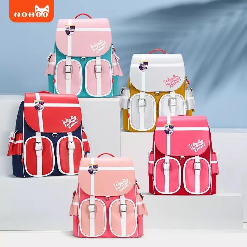 Nohoo-حقيبة ظهر مدرسية لتقويم العظام للأطفال من سن 6 إلى 12 سنة ، حقيبة مدرسية ، بوليستر ، سعة كبيرة ، للبنات