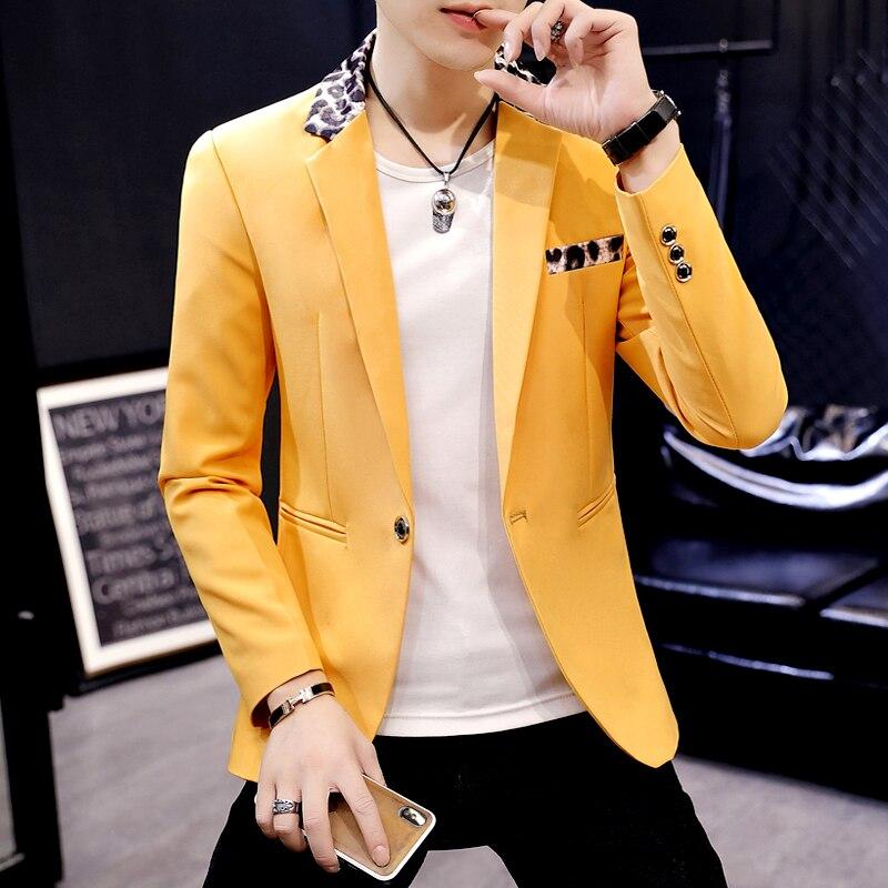 Повседневный мужской белый блейзер Мужской Блейзер пиджак на одной пуговице тонкий пиджак леопардовый воротник клубный пиджак S115