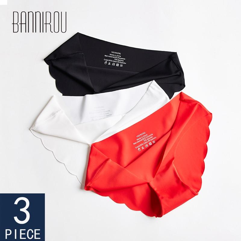 BANNIROU Women's Panties Seamless Underwear For Woman Sexy Lingerie Briefs Female Lingerie Sports Women Underwear 3 Pcs New Sale