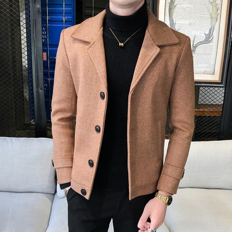 2021 брендовая одежда, плотный шерстяной Тренч, пальто, деловой мужской однотонный плащ, высококачественные куртки, топы, Осень-зима, мужские ...