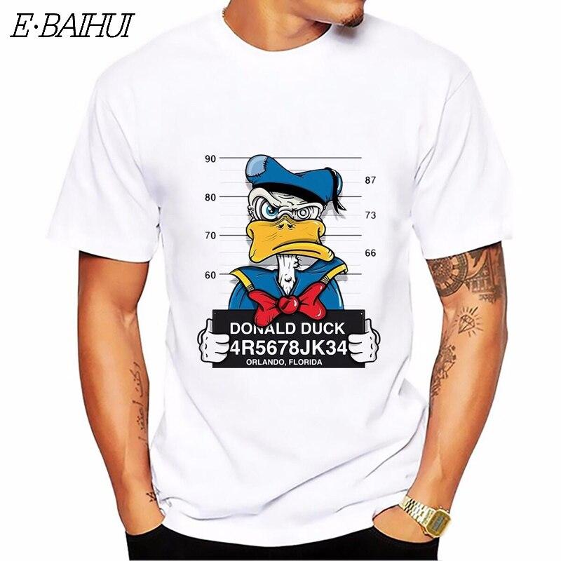 E-BAIHUI, новинка, футболка с принтом утки из мультфильма, мужские топы с коротким рукавом, Повседневная футболка с рисунком собаки, мыши, homme, удобная футболка, CG001