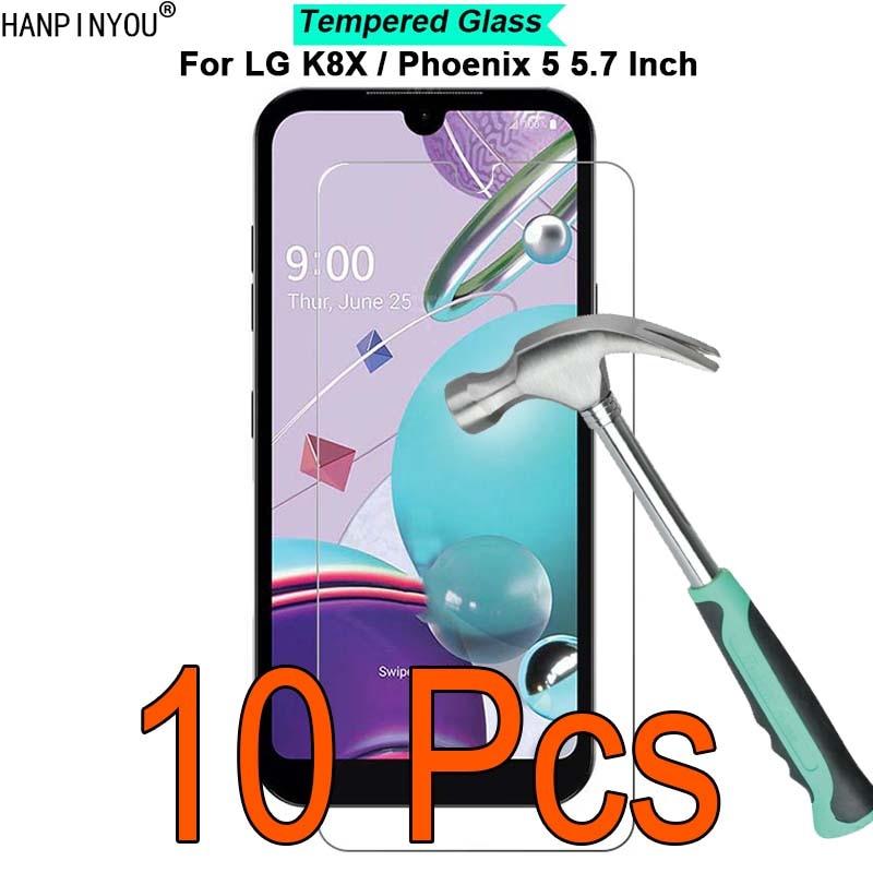 "10 unids/lote para LG K8X / Phoenix 5 5,7 ""9H dureza 2.5D Protector de pantalla de película de vidrio templado endurecido ultrafino"