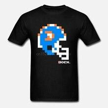 Camiseta estampada de algodón para hombres, camiseta de manga corta con cuello redondo, camiseta de mujer con casco y Tecmo Bowl