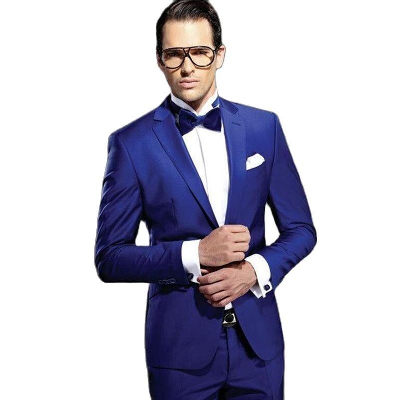 Изготовленные на заказ Королевского синего цвета мужские свадебные костюмы для жениха облегающие дешевые мужские костюмы для жениха из дв...