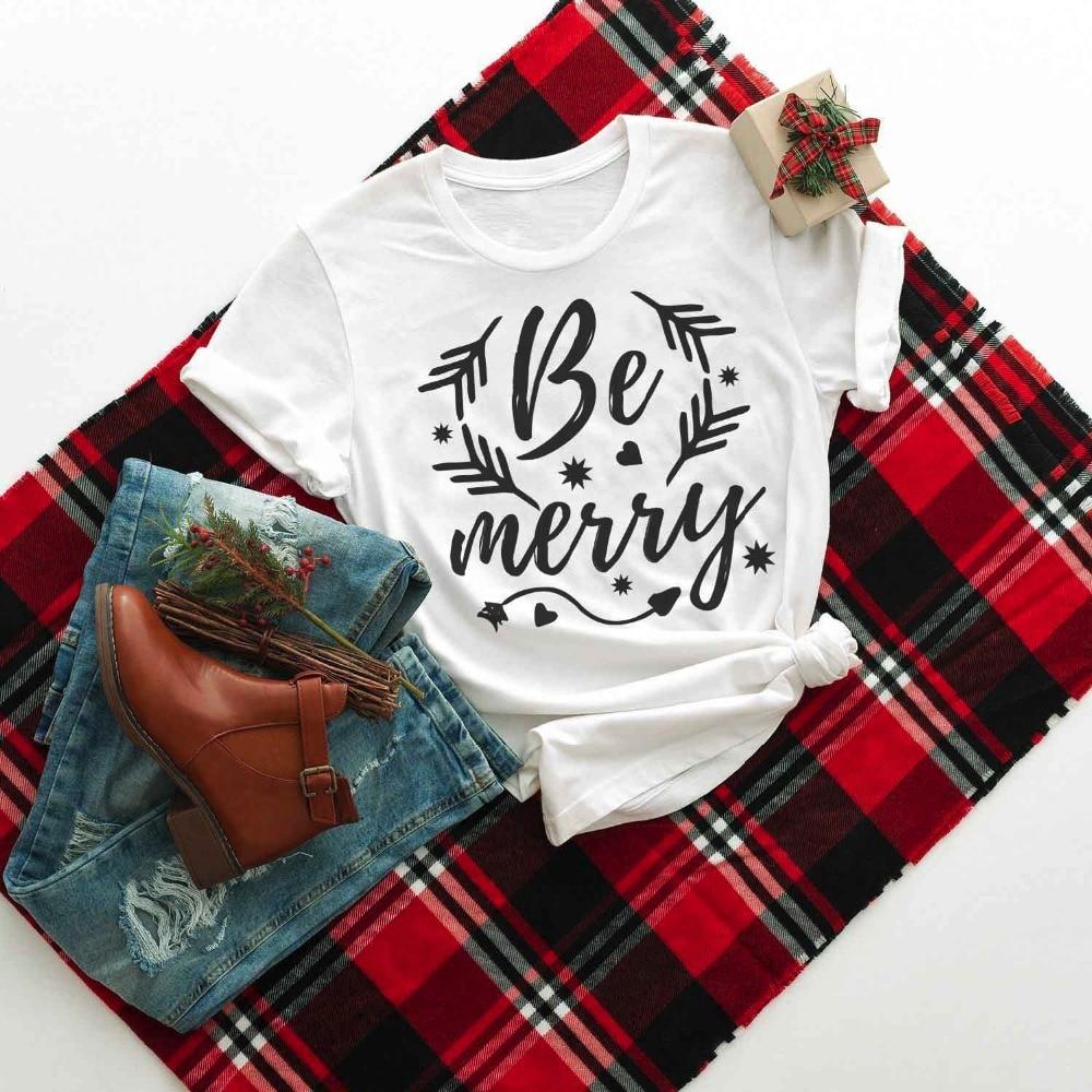 Be Merry Christmas Shirts letter print women fashion graphic aesthetic harajuku goth women gift cotton trend t-shirt tees- K184