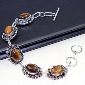 Tiger Eye    Bracelet  Silver Overlay over Copper ,  21cm, B0662