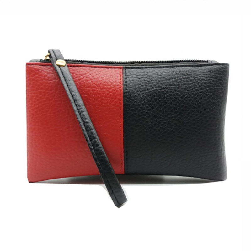 2020 Hit couleur noir et rouge hommes femmes portefeuilles PU cuir sac fermeture éclair pochette porte-monnaie téléphone bracelet Portable sac à main Shopping