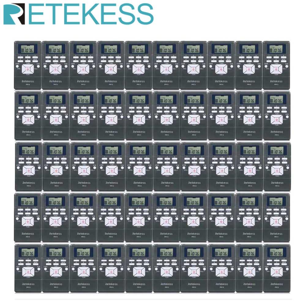 Карманный радиоприемник RETEKESS PR13, 50 шт., цифровое радио, DSP, FM, стерео, мини-портативный для руководства церковной, конференц-тренинга