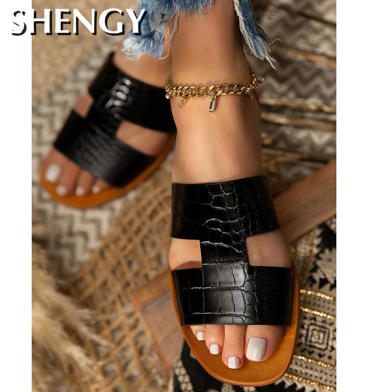 Sandalias de verano SHY para mujer, sandalias a cuadros a rayas de Color liso para mujer, sandalias de playa, zapatos de oficina, triangulación de envíos