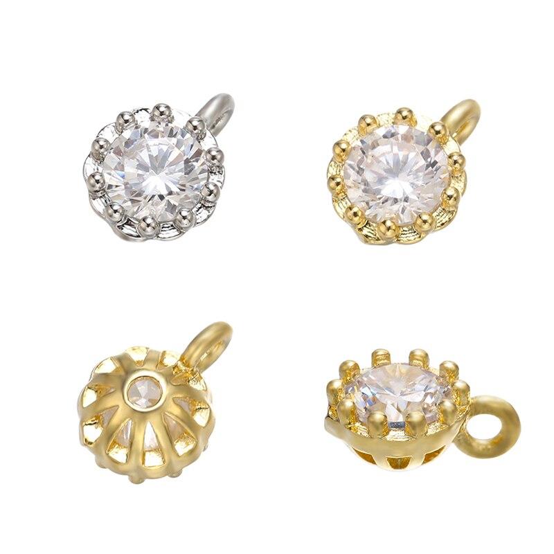 ZHUKOU 6x8 мм Мини Латунное хрустальное ожерелье Подвеска для женщин DIY ожерелье браслет ювелирные изделия, подвески, Аксессуары Модель: VD665
