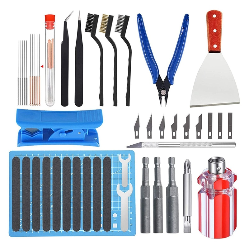 مجموعة أدوات طابعة ثلاثية الأبعاد تشمل أدوات التفكيك ، أدوات تنظيف ، الرملي وأدوات التفكيك نهاية ساخنة