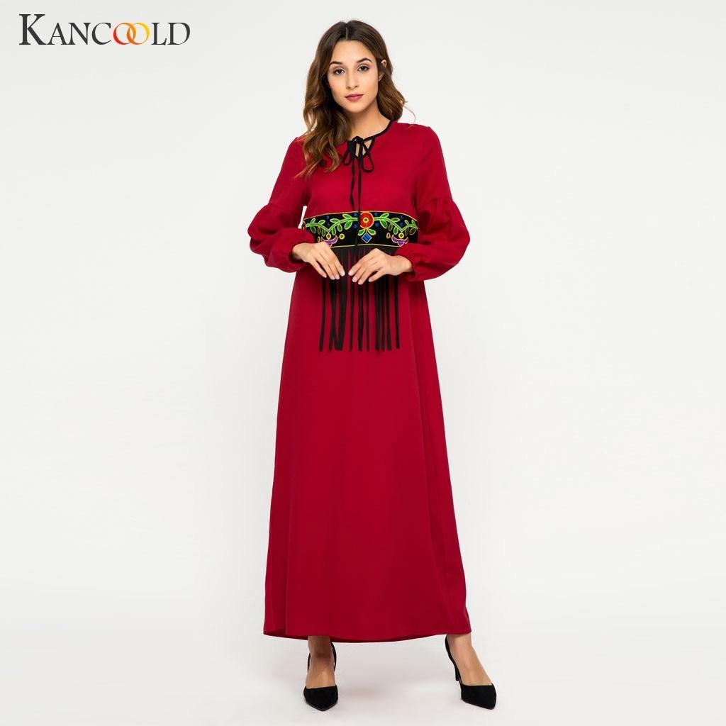 KANCOOLD élégant femmes robe caftan musulmane rouge frangé dentelle couture islamique turc arabe national longue abaya robe musulmane