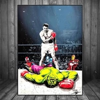 muhammad ali vs hulk on the wall art boxing canvas paintings posters graffiti art pictures for cuadros wall art picture decor