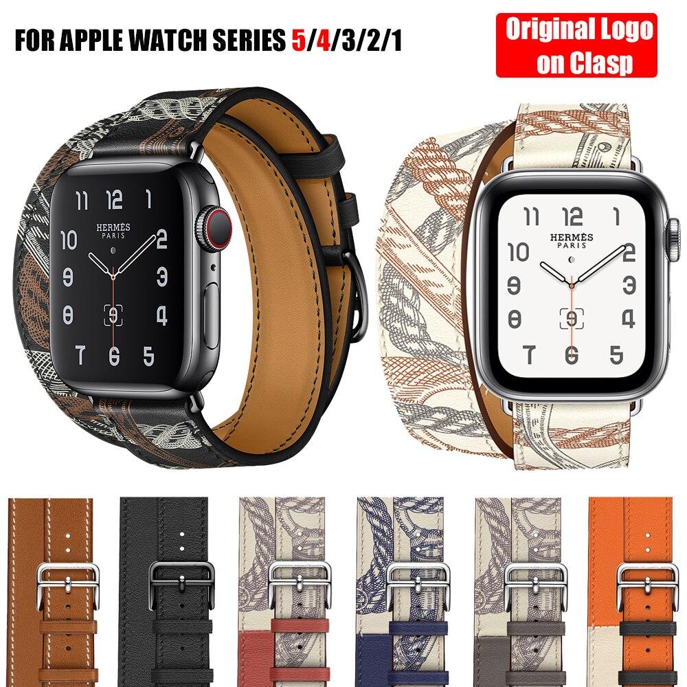 Para Apple Watch 5 correa de cuero auténtico rápido Apple Watch doble correa de una sola vuelta para iWatch 4 3 2 1 pulsera