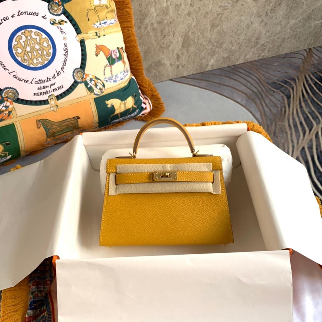 المصممين حقيبة صغيرة ، 19.5 سنتيمتر ، HANDBAD الفاخرة ، اللون الأصفر ، جلد Epsom ، جودة اليدوية ، وسرعة التسليم