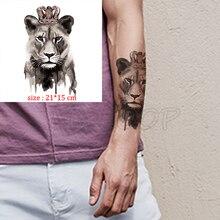 Fake tattoo lion king crown waterproof temporary tatoo sticker big cat animal body art flash tatto for kid boy man girl