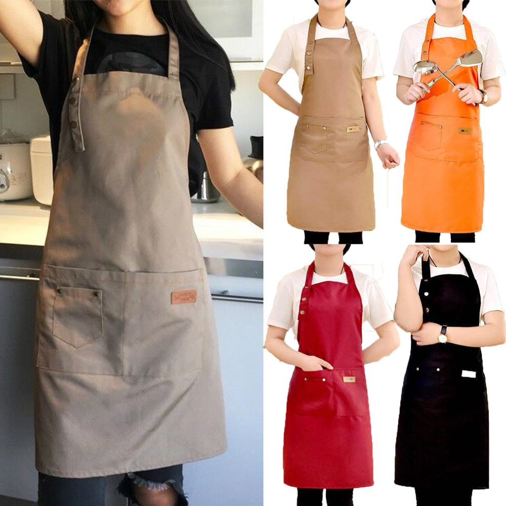 2021 Newest Hot Solid Cooking Kitchen Apron For Woman Men Chef Waiter Cafe Shop BBQ Hairdresser Aprons Bibs Kitchen Accessory