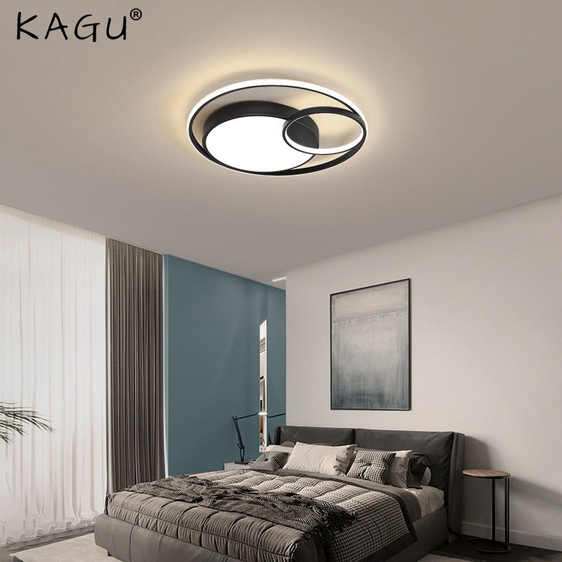 KAGU الأسود سقف ليد حديث أضواء لغرفة المعيشة غرفة نوم غرفة الطعام عكس الضوء مصباح داخلي حلقة مستديرة تركيبات إضاءة