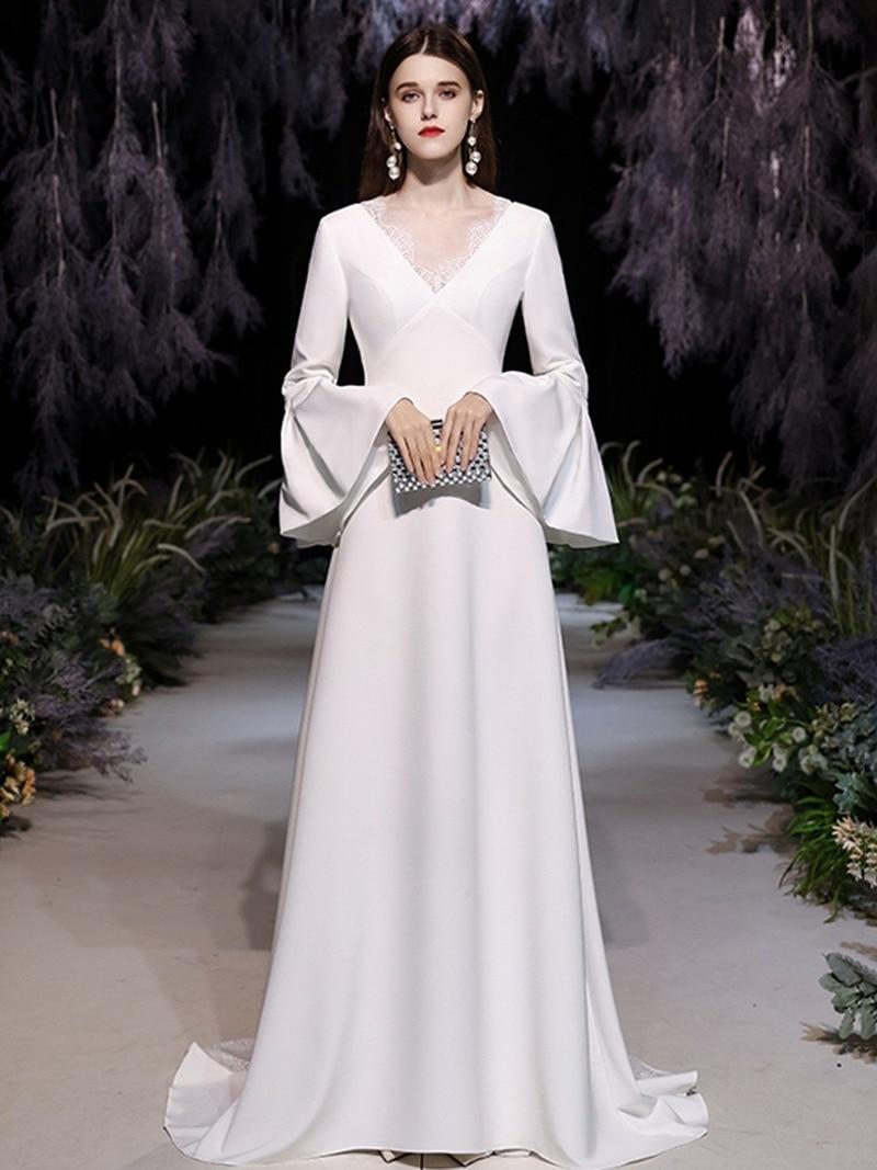 Promo luxury design fashion simple and generous Satin Long banquet dress temperament sexy slim elegant long sleeve light wedding dress