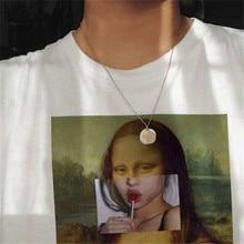 Mona Lisa Aesthetic Harajuku Vintage T Shirt Women/men Grunge Ullzang T-shirt Funny Print Tshirt 90s Graphic Top Tee Female/male