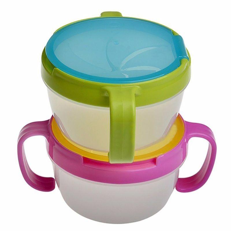 Bebé niño alimentación tazón vajilla merienda galletas cuidador de alimentos de los niños prueba de derrames doble mango taza contenedor viaje nuevo