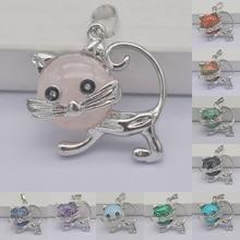 Tigereye/Green Aventurine/Crystal/Brazilian Sodalite/Howlite/Picture Stone GEM Pendant Lovely Cat Animal Jewelry For Gift 1PCS