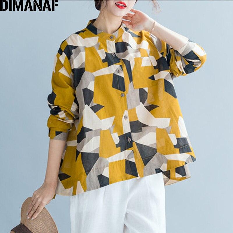 DIMANAF 2020 Verano de talla grande mujer blusa camisa algodón señora Tops túnica holgada informal estampada geométrica manga larga botón Cardigan