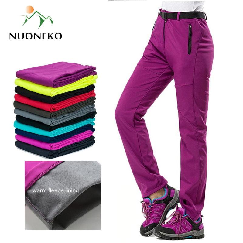 Новые зимние женские уличные штаны NUONEKO, толстые флисовые спортивные штаны из софтшелла, походные лыжные водонепроницаемые женские штаны ...
