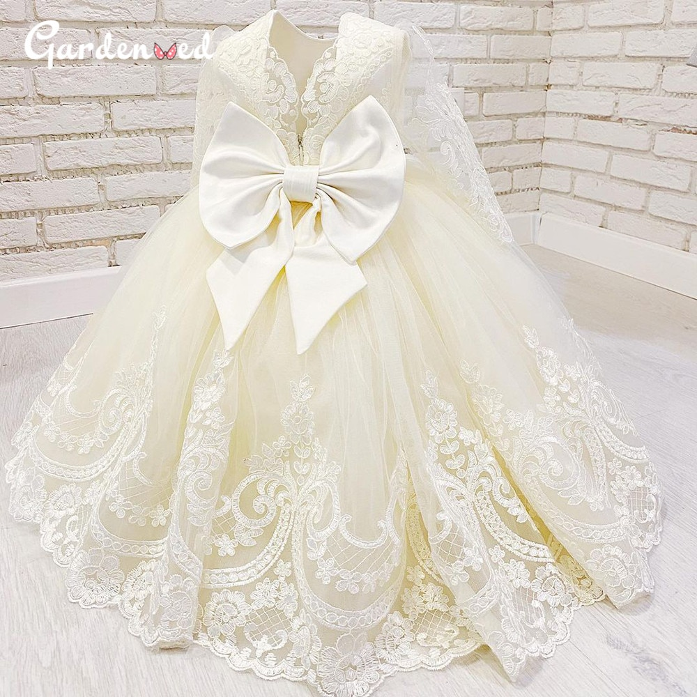 Luxury Lace Communion Dresses Puffy Ball Gown Girl Pageant Dresses Illusion Sleeves Satin Bow Flower Girl Dresses 2020 gold lace applique first communion dresses short sleeves top lace flower girl dress lace applique skirt girl pageant dresses
