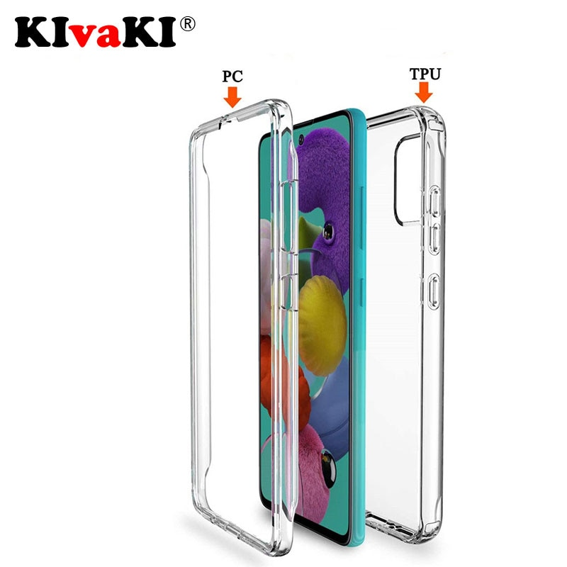 Full Body 360 Front Back Clear Phone Case For Samsung Galaxy A21S A51 A71 A50 A70 A10 A20E S8 S9 S10