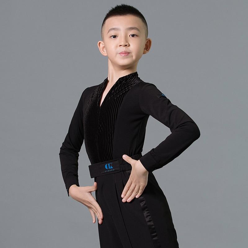أزياء رقص لاتينية للأولاد ، قمصان مخملية ، درزات بأكمام طويلة ، قمصان قاعة ، تشاكا ، ملابس رقص لاتينية ، DN7118